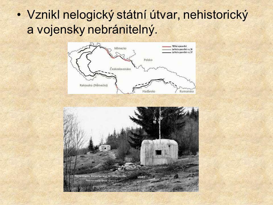 Vznikl nelogický státní útvar, nehistorický a vojensky nebránitelný.