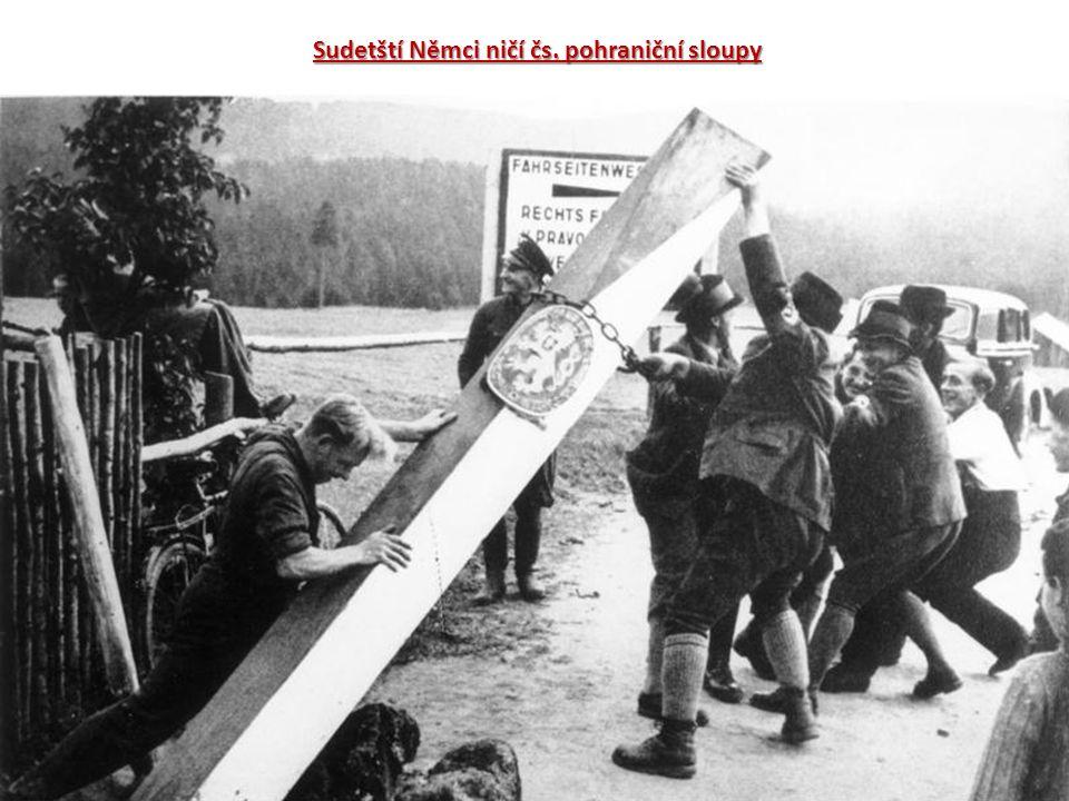 Sudetští Němci ničí čs. pohraniční sloupy