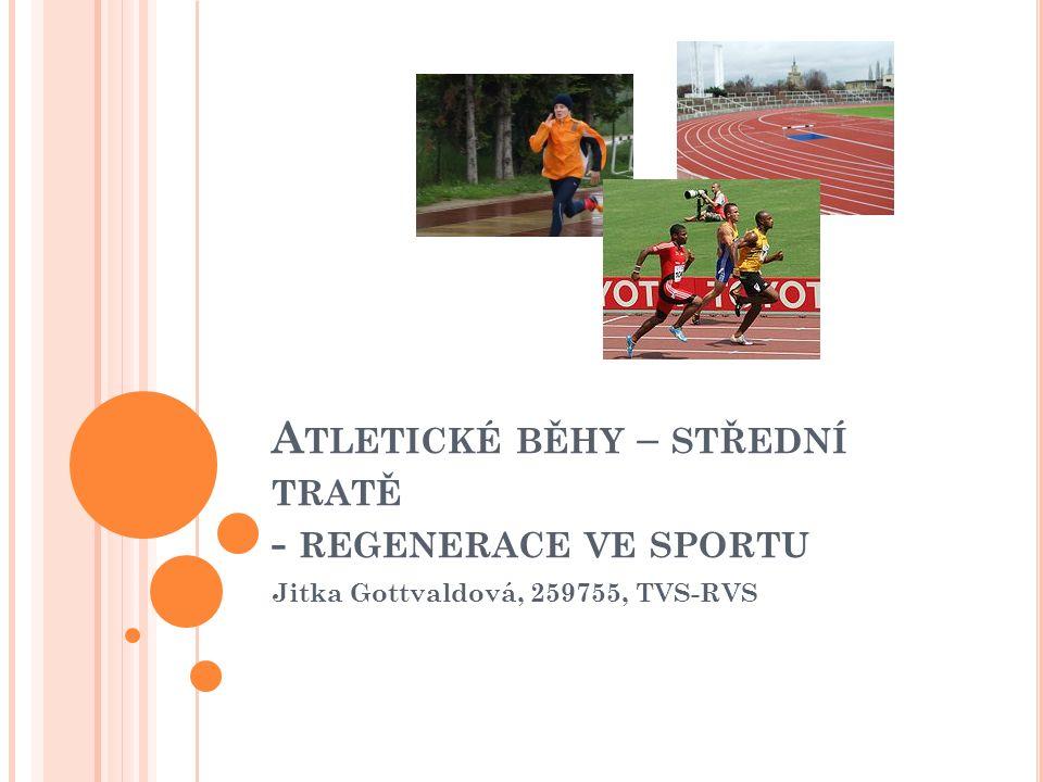 B ĚH Přirozený, cyklický, bipedální pohyb člověka Jedna ze základních atletických disciplín Vhodný rekreační sport od mládí až do stáří Rozdělení běhů: sprinty (do 500m), střední tratě (do 3km), dlouhé tratě (do 20km), velmi dlouhé tratě (nad 20km) Rozdílný způsob čerpání energie, metabolická a fční náročnost, apod.