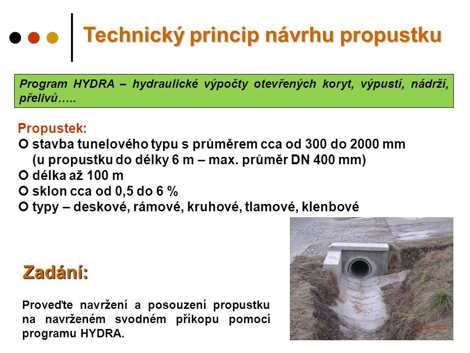 Program HYDRA – hydraulické výpočty otevřených koryt, výpustí, nádrží, přelivů…..