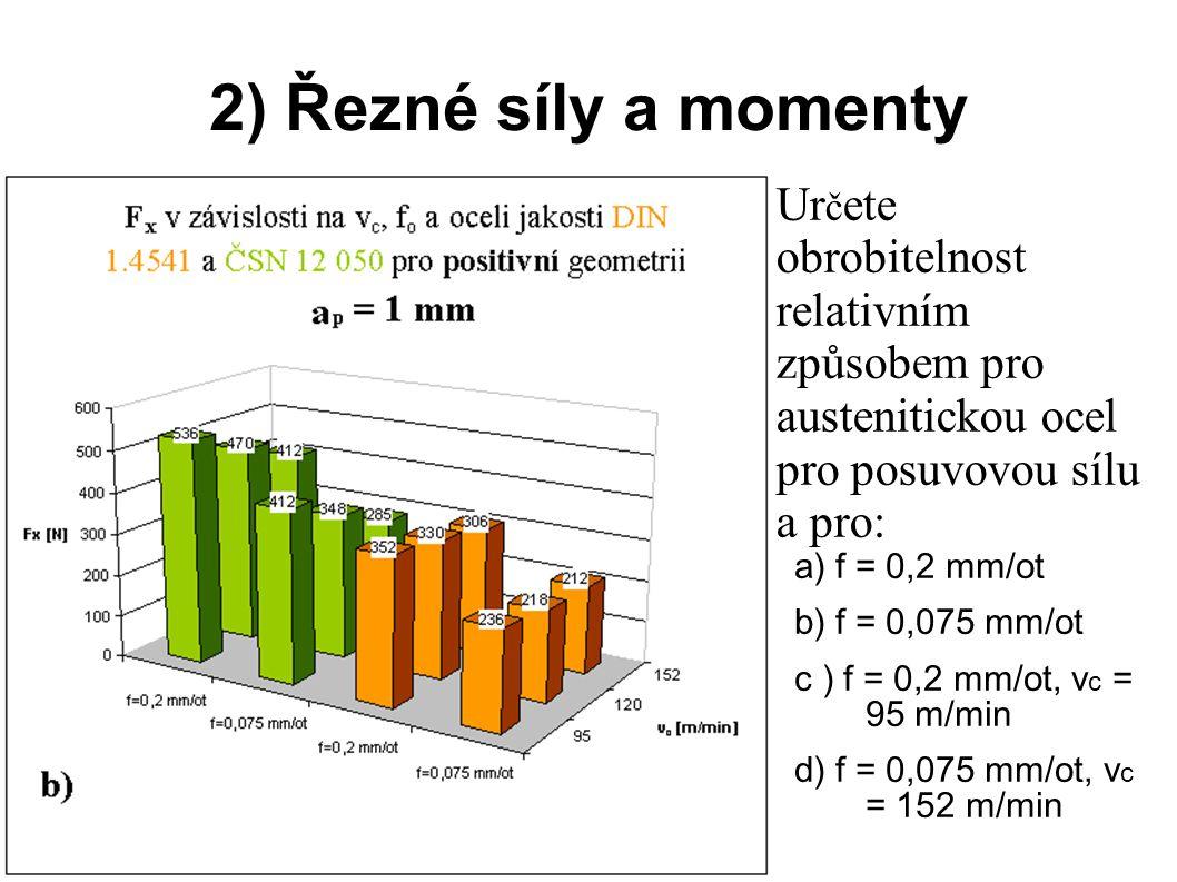 3) Teplota řezání Ur č ete obrobitelnost relativním způsobem pro austenitické oceli pro teplotu řezání.