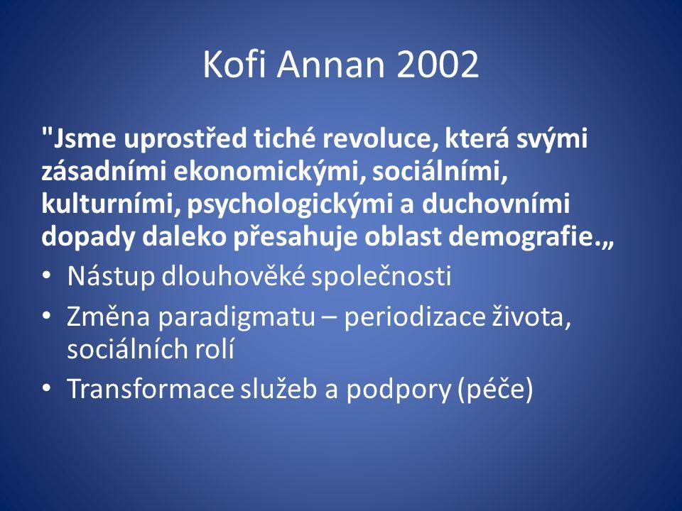 """Kofi Annan 2002 Jsme uprostřed tiché revoluce, která svými zásadními ekonomickými, sociálními, kulturními, psychologickými a duchovními dopady daleko přesahuje oblast demografie."""" Nástup dlouhověké společnosti Změna paradigmatu – periodizace života, sociálních rolí Transformace služeb a podpory (péče)"""