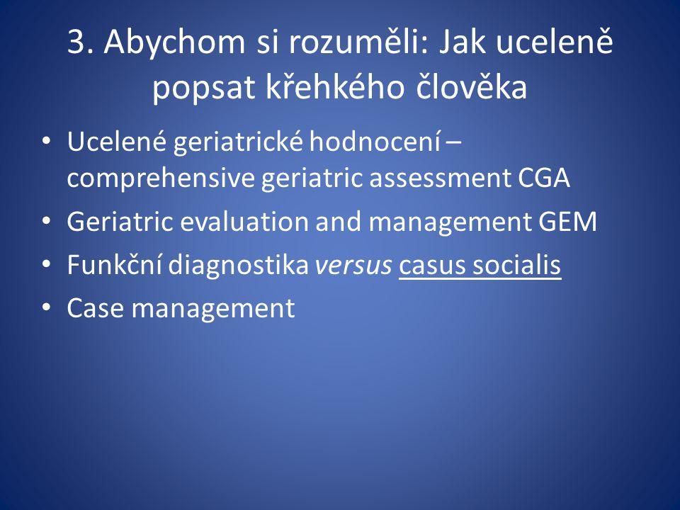 3. Abychom si rozuměli: Jak uceleně popsat křehkého člověka Ucelené geriatrické hodnocení – comprehensive geriatric assessment CGA Geriatric evaluatio