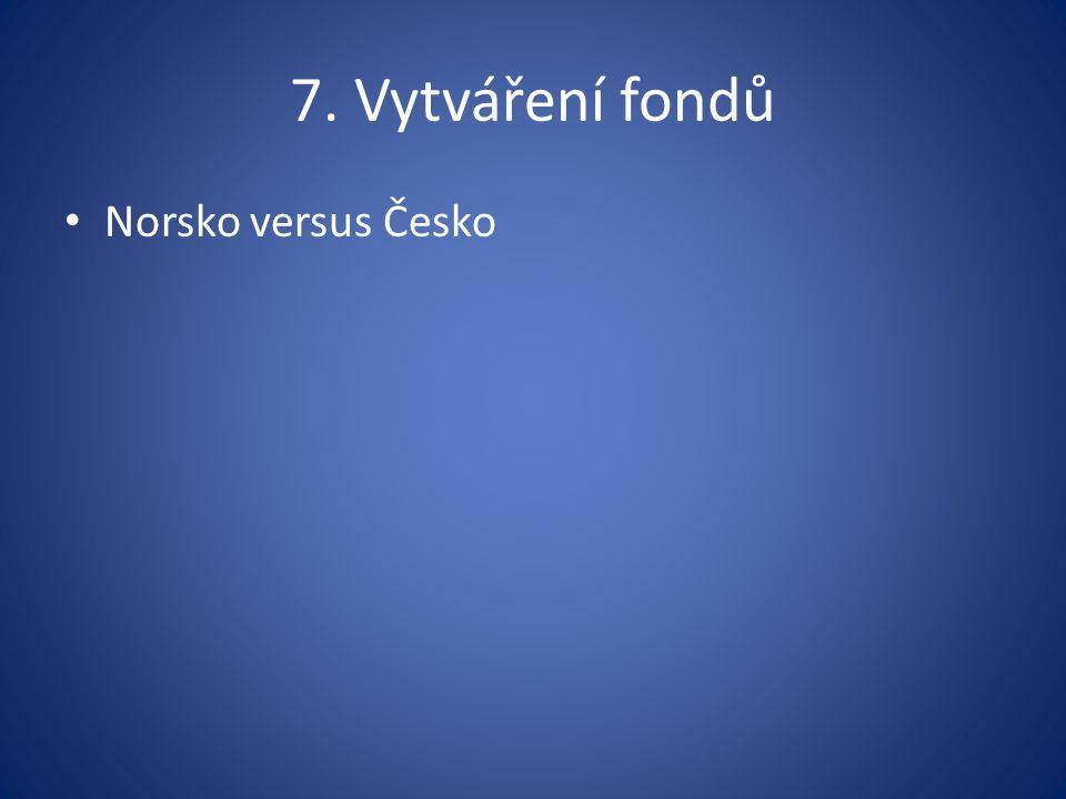 7. Vytváření fondů Norsko versus Česko