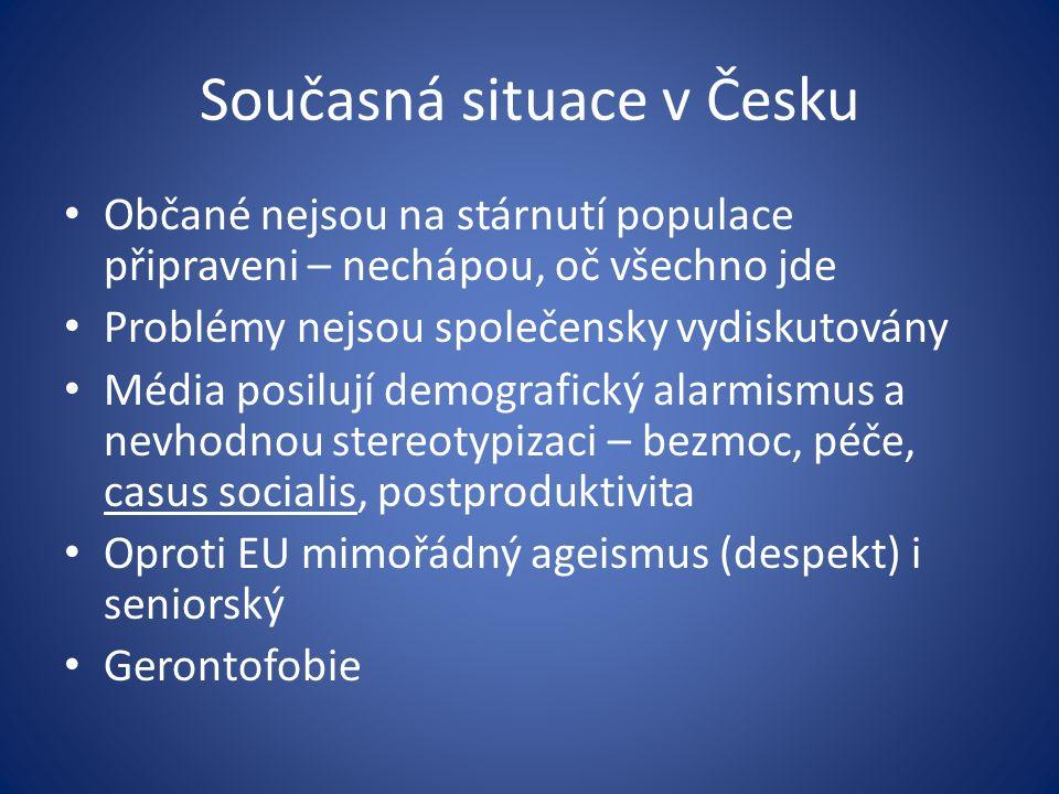 Současná situace v Česku Občané nejsou na stárnutí populace připraveni – nechápou, oč všechno jde Problémy nejsou společensky vydiskutovány Média posilují demografický alarmismus a nevhodnou stereotypizaci – bezmoc, péče, casus socialis, postproduktivita Oproti EU mimořádný ageismus (despekt) i seniorský Gerontofobie