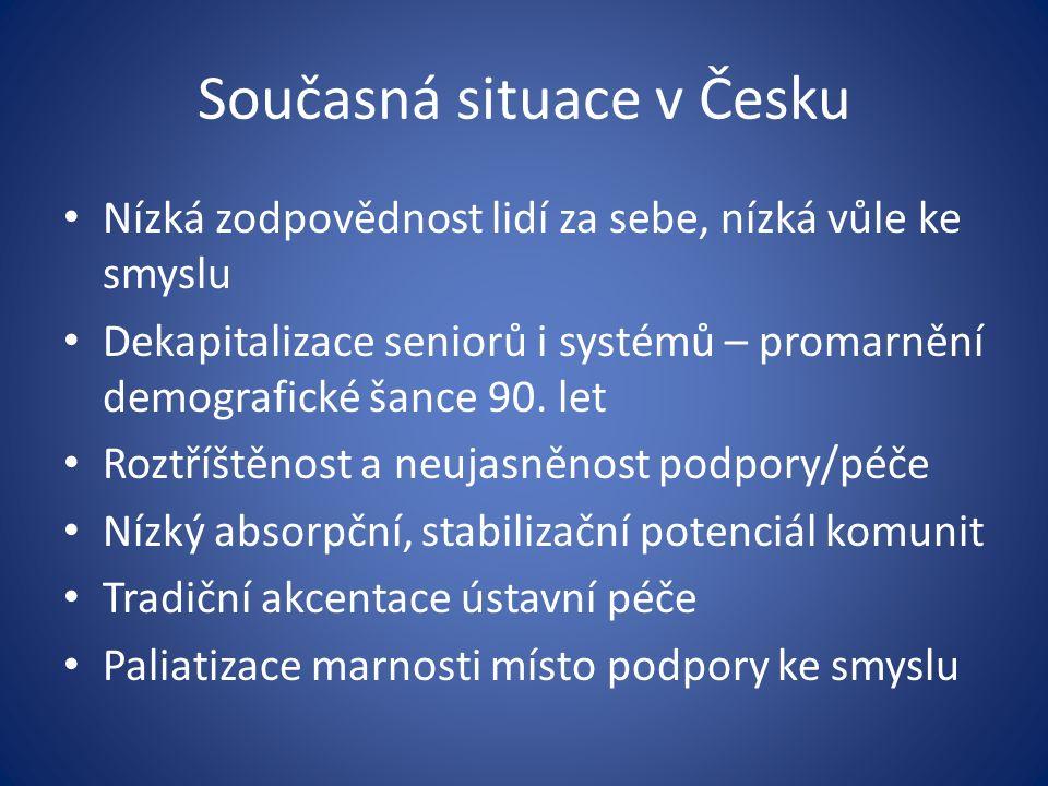 Současná situace v Česku Nízká zodpovědnost lidí za sebe, nízká vůle ke smyslu Dekapitalizace seniorů i systémů – promarnění demografické šance 90.