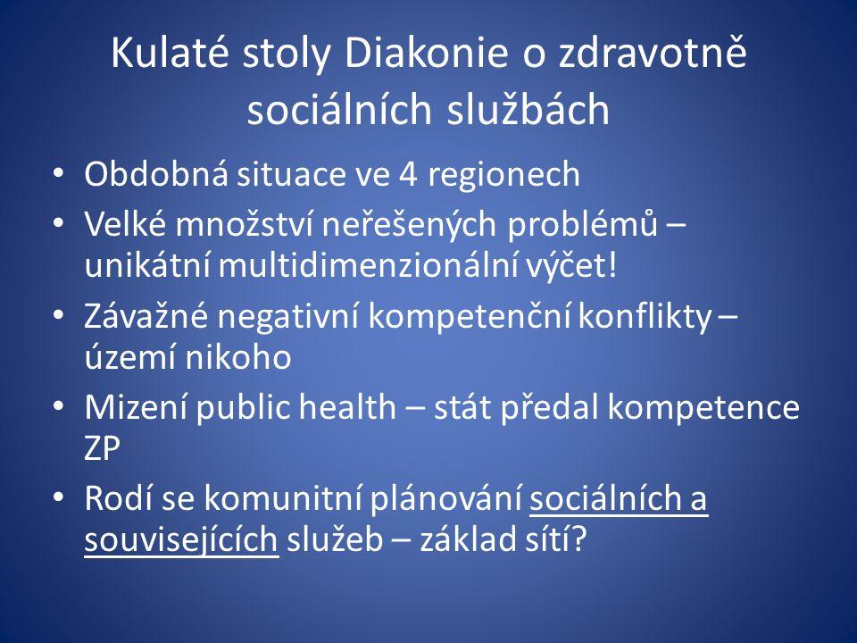 Kulaté stoly Diakonie o zdravotně sociálních službách Obdobná situace ve 4 regionech Velké množství neřešených problémů – unikátní multidimenzionální výčet.