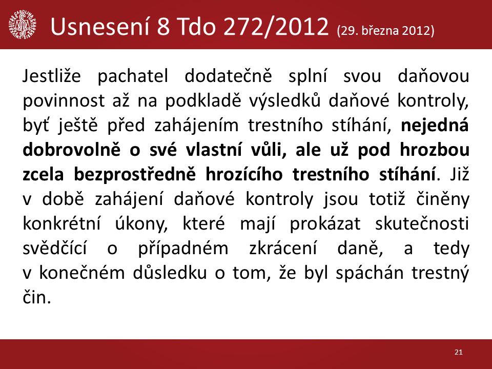 Usnesení 8 Tdo 272/2012 (29.
