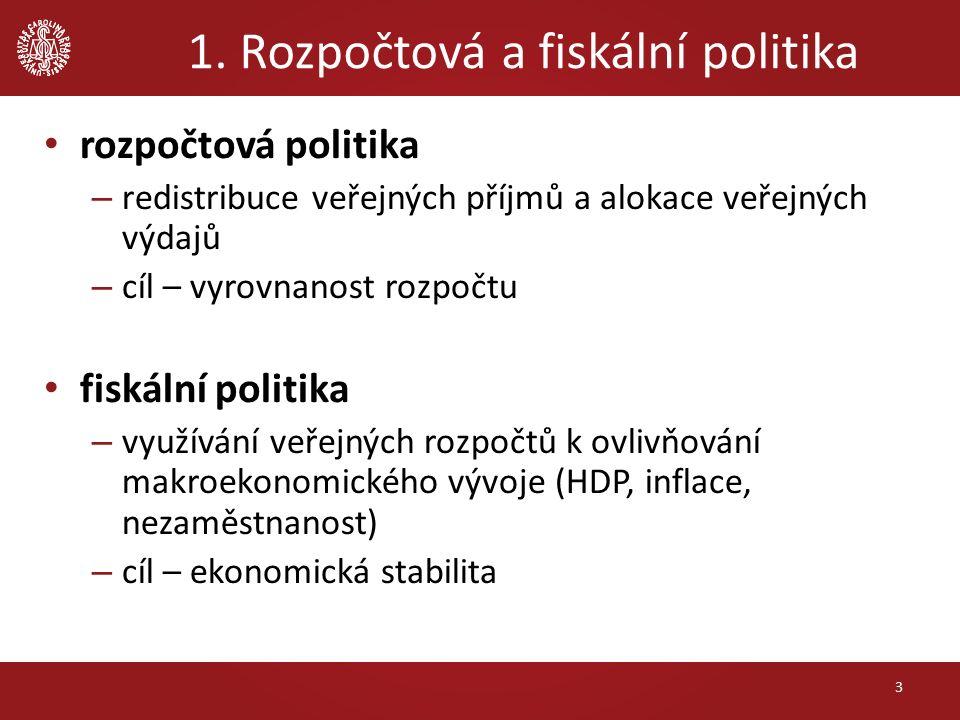 1. Rozpočtová a fiskální politika rozpočtová politika – redistribuce veřejných příjmů a alokace veřejných výdajů – cíl – vyrovnanost rozpočtu fiskální