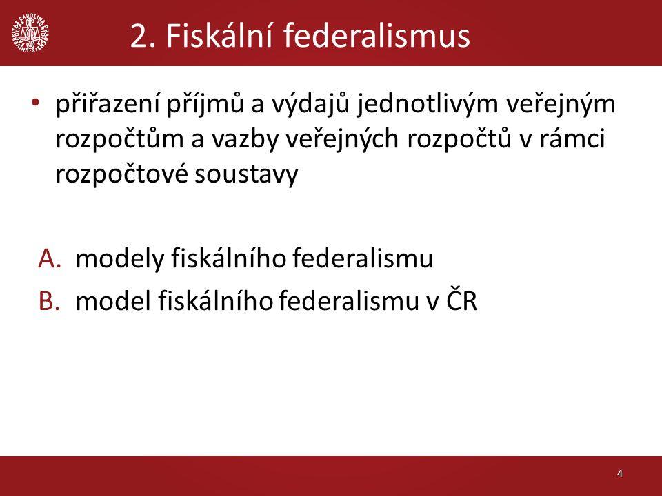 2. Fiskální federalismus přiřazení příjmů a výdajů jednotlivým veřejným rozpočtům a vazby veřejných rozpočtů v rámci rozpočtové soustavy A.modely fisk