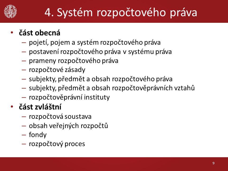 4. Systém rozpočtového práva část obecná – pojetí, pojem a systém rozpočtového práva – postavení rozpočtového práva v systému práva – prameny rozpočto