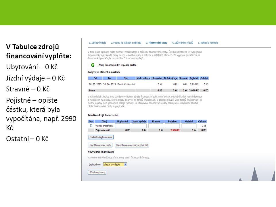 V Tabulce zdrojů financování vyplňte: Ubytování – 0 Kč Jízdní výdaje – 0 Kč Stravné – 0 Kč Pojistné – opište částku, která byla vypočítána, např. 2990