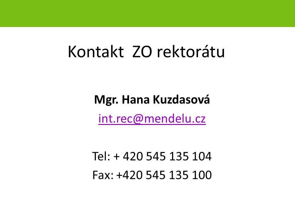 Kontakt ZO rektorátu Mgr.