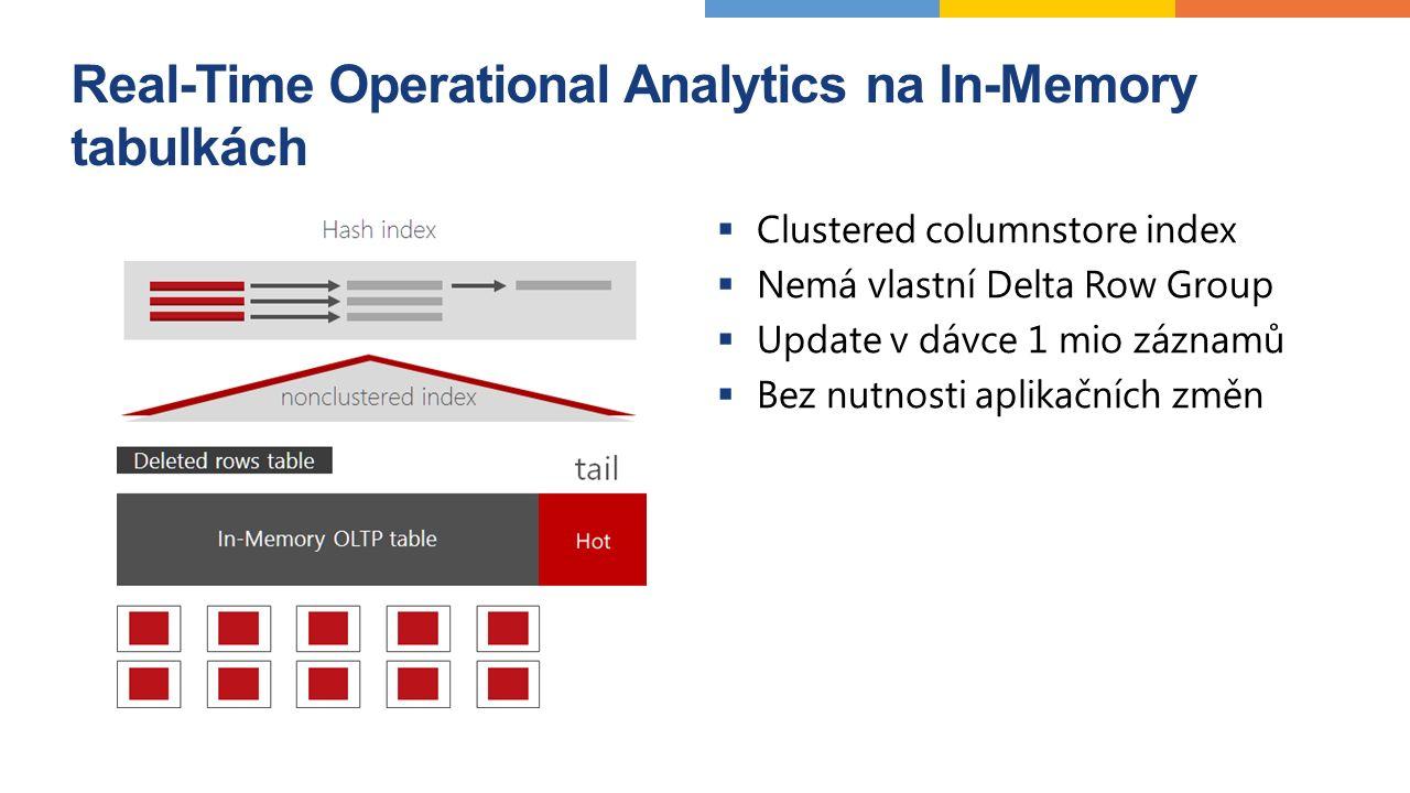 Vylepšení In-Memory OLTP  Větší kapacita In-Memory (256 GB  2 TB)  SQL Server 2014 neumožňoval změnu schématu In-Memory tabulky, SQL Server 2016 umožňuje ALTER TABLE  Více povolených T-SQL příkazů na SQL Serveru 2016 OUTER JOIN OR, NOT UNION SELECT DISTINCT EXISTS, IN, skalární poddotazy  Podpora nativně kompilovaných skalárních funkcí  Podpora CONSTRAINTS  Podpora MARS  A další
