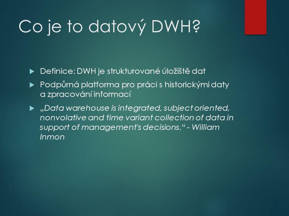 """Co je to datový DWH?  Definice: DWH je strukturované úložiště dat  Podpůrná platforma pro práci s historickými daty a zpracování informací  """"Data w"""