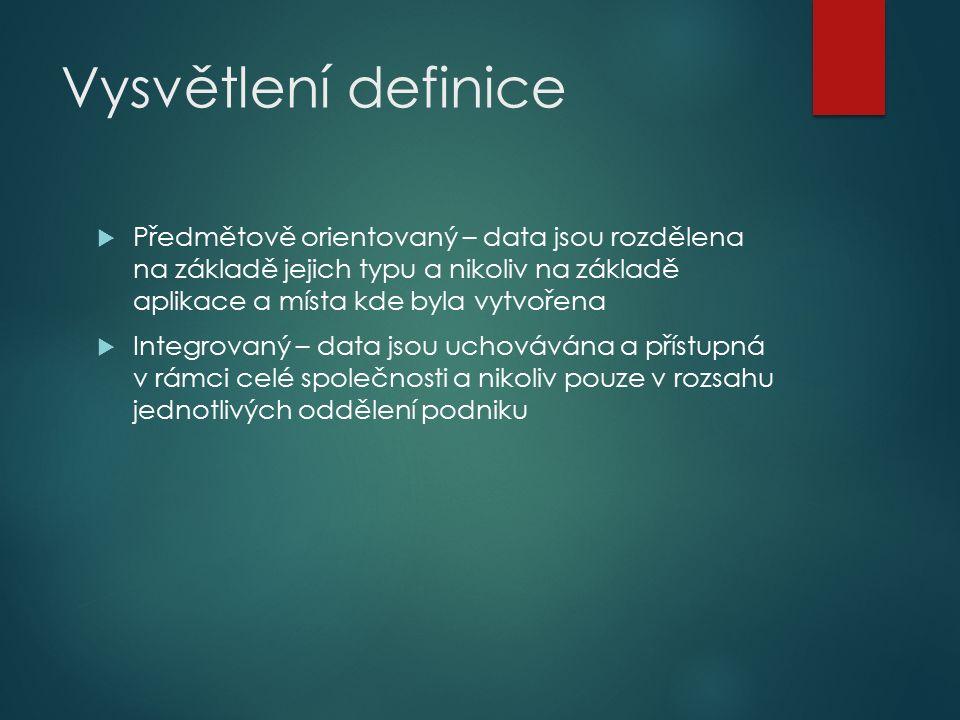 Vysvětlení definice  Předmětově orientovaný – data jsou rozdělena na základě jejich typu a nikoliv na základě aplikace a místa kde byla vytvořena  Integrovaný – data jsou uchovávána a přístupná v rámci celé společnosti a nikoliv pouze v rozsahu jednotlivých oddělení podniku