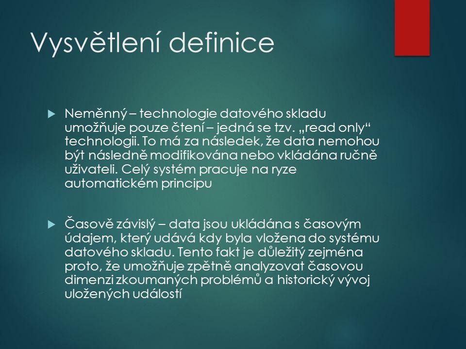 Vysvětlení definice  Neměnný – technologie datového skladu umožňuje pouze čtení – jedná se tzv.