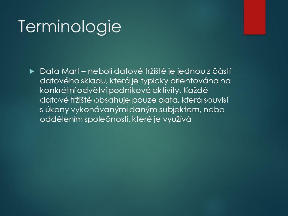 Terminologie  Data Mart – neboli datové tržiště je jednou z částí datového skladu, která je typicky orientována na konkrétní odvětví podnikové aktivity.