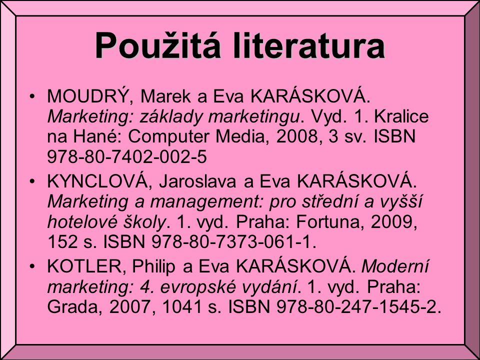 Použitá literatura MOUDRÝ, Marek a Eva KARÁSKOVÁ. Marketing: základy marketingu. Vyd. 1. Kralice na Hané: Computer Media, 2008, 3 sv. ISBN 978-80-7402