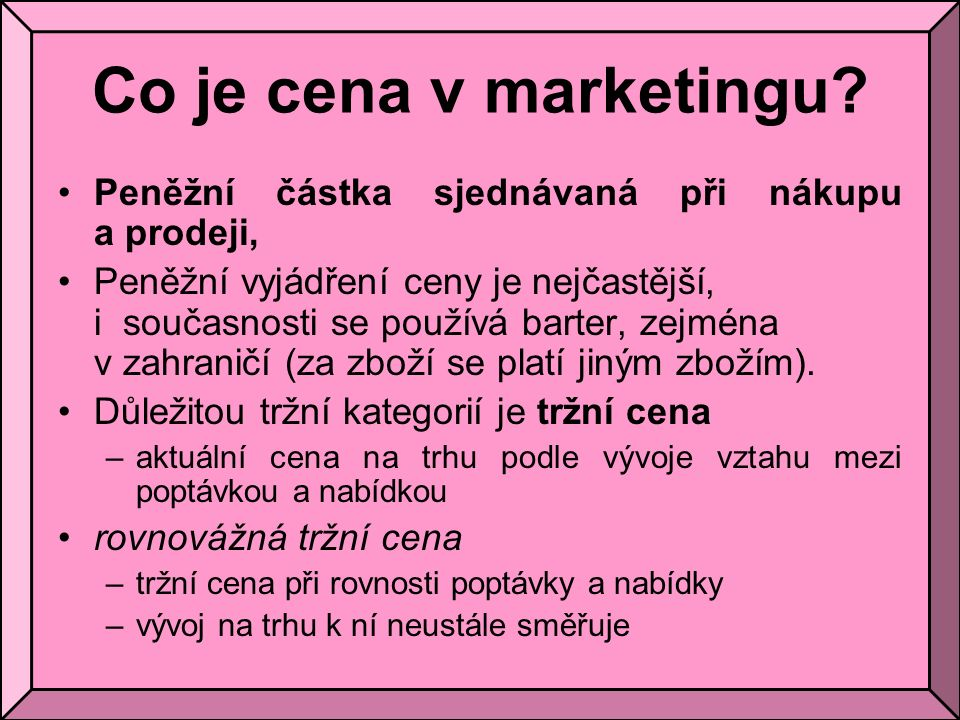 Co je cena v marketingu.
