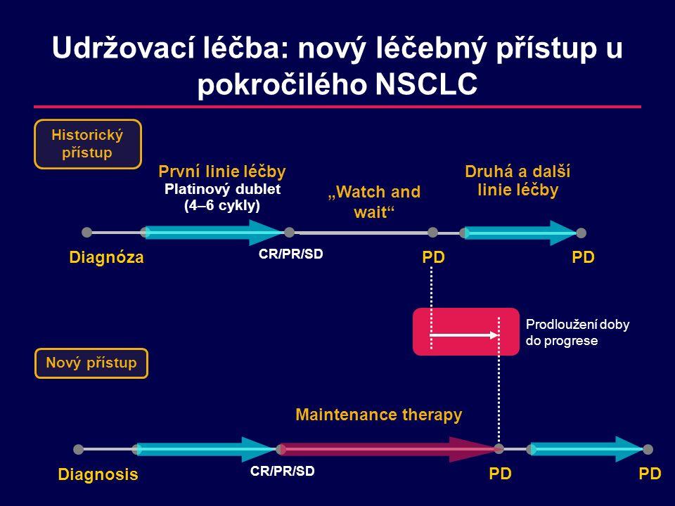 Klíčové cíle udržovací léčby Oddálení progrese nemociPrevence zhoršení příznakůUdržení celkového stavu k umožnění následné léčby Prodloužení celkového přežití