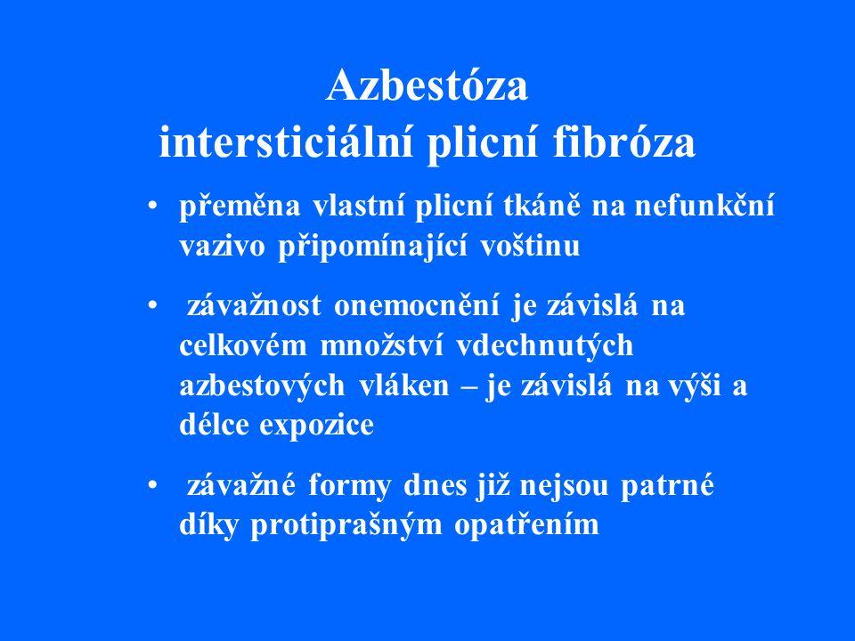 Azbestóza intersticiální plicní fibróza přeměna vlastní plicní tkáně na nefunkční vazivo připomínající voštinu závažnost onemocnění je závislá na celkovém množství vdechnutých azbestových vláken – je závislá na výši a délce expozice závažné formy dnes již nejsou patrné díky protiprašným opatřením