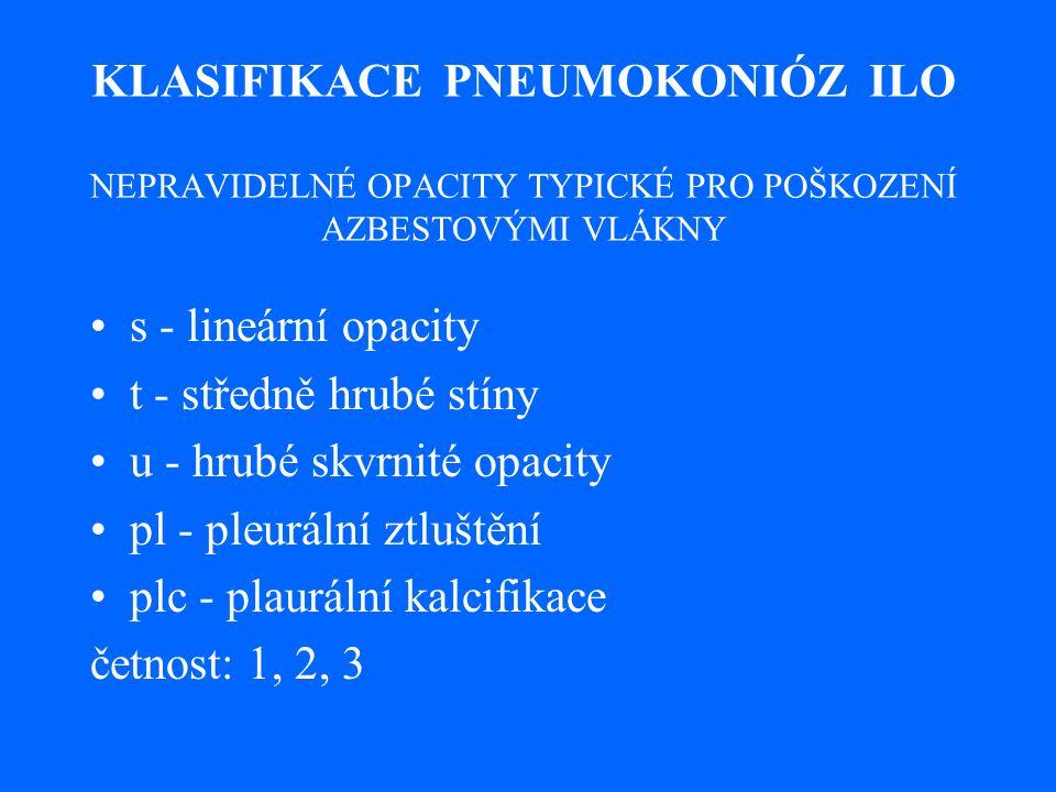 KLASIFIKACE PNEUMOKONIÓZ ILO NEPRAVIDELNÉ OPACITY TYPICKÉ PRO POŠKOZENÍ AZBESTOVÝMI VLÁKNY s - lineární opacity t - středně hrubé stíny u - hrubé skvrnité opacity pl - pleurální ztluštění plc - plaurální kalcifikace četnost: 1, 2, 3