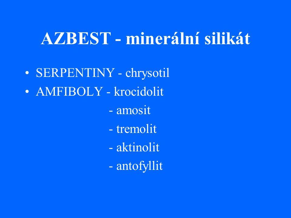 AZBEST - minerální silikát SERPENTINY - chrysotil AMFIBOLY - krocidolit - amosit - tremolit - aktinolit - antofyllit