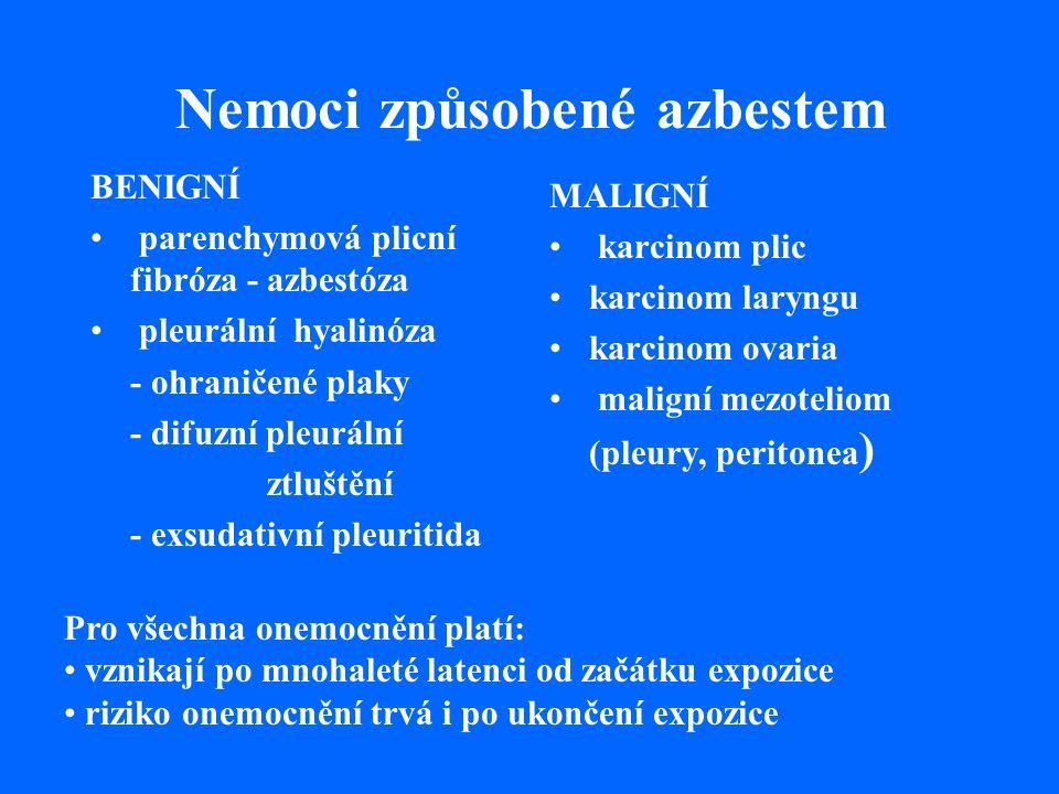 Nemoci způsobené azbestem BENIGNÍ parenchymová plicní fibróza - azbestóza pleurální hyalinóza - ohraničené plaky - difuzní pleurální ztluštění - exsudativní pleuritida MALIGNÍ karcinom plic karcinom laryngu karcinom ovaria maligní mezoteliom (pleury, peritonea ) Pro všechna onemocnění platí: vznikají po mnohaleté latenci od začátku expozice riziko onemocnění trvá i po ukončení expozice
