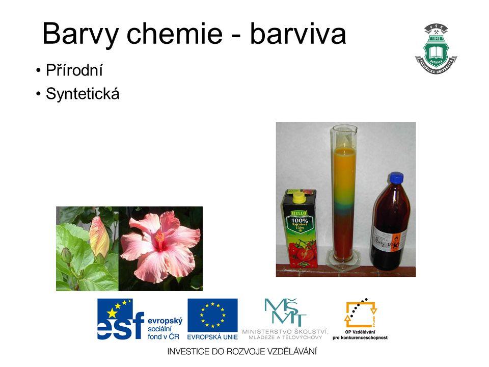 Barvy chemie - barviva Přírodní Syntetická