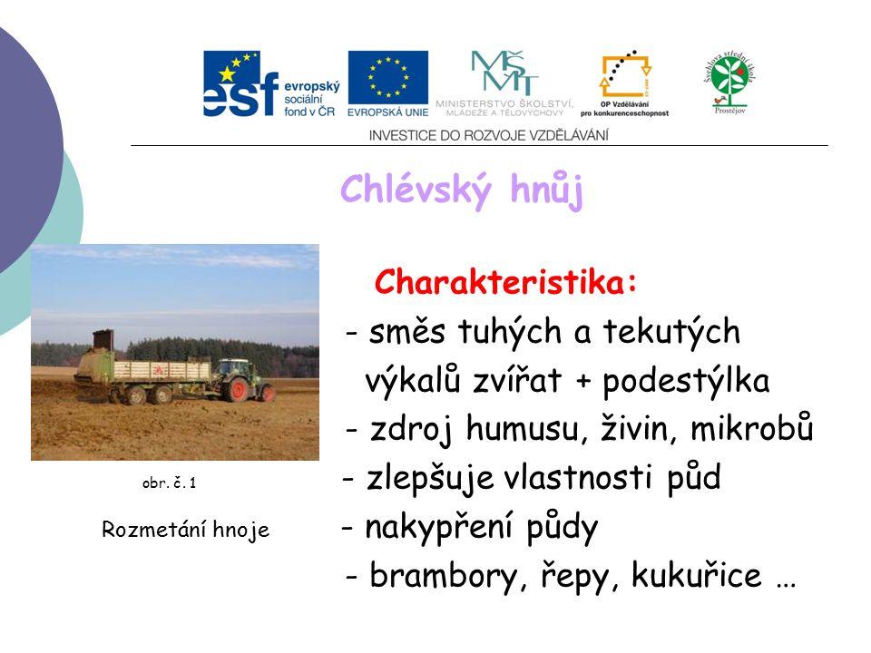 Chlévský hnůj Charakteristika: - směs tuhých a tekutých výkalů zvířat + podestýlka - zdroj humusu, živin, mikrobů obr.