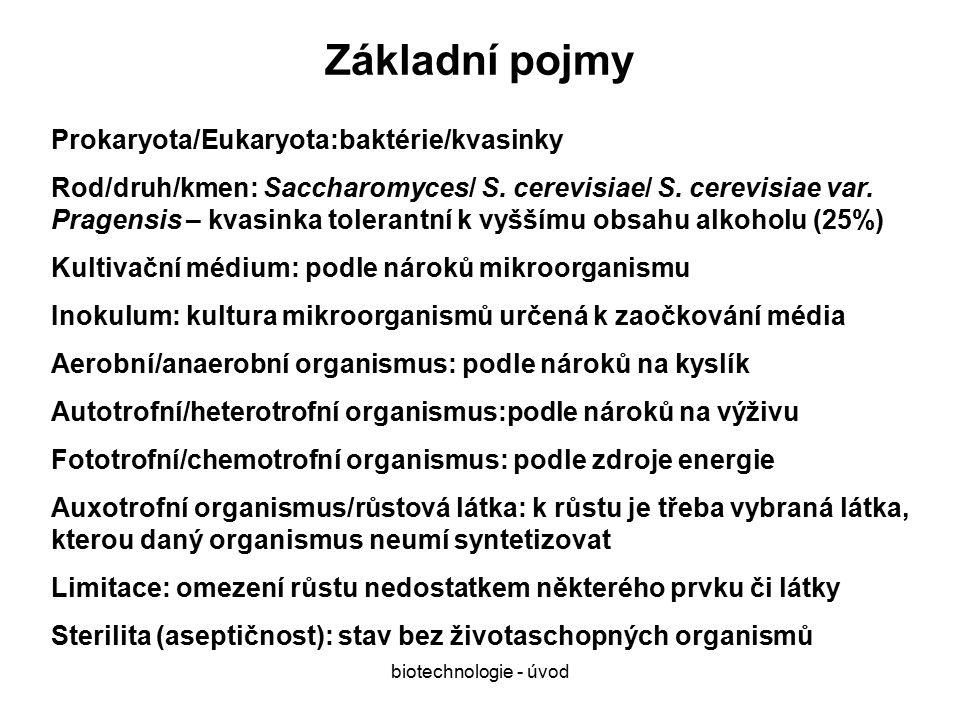 biotechnologie - úvod Základní pojmy Prokaryota/Eukaryota:baktérie/kvasinky Rod/druh/kmen: Saccharomyces/ S.
