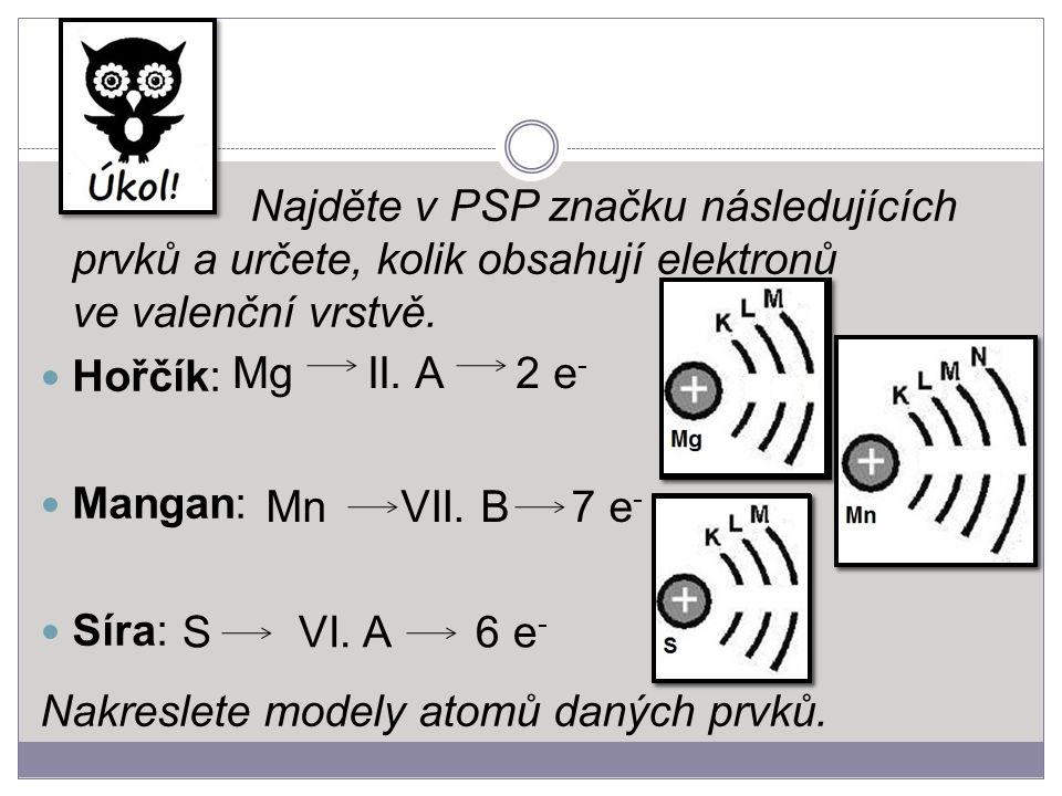 Najděte v PSP značku následujících prvků a určete, kolik obsahují elektronů ve valenční vrstvě. Hořčík: Mangan: Síra: Nakreslete modely atomů daných p