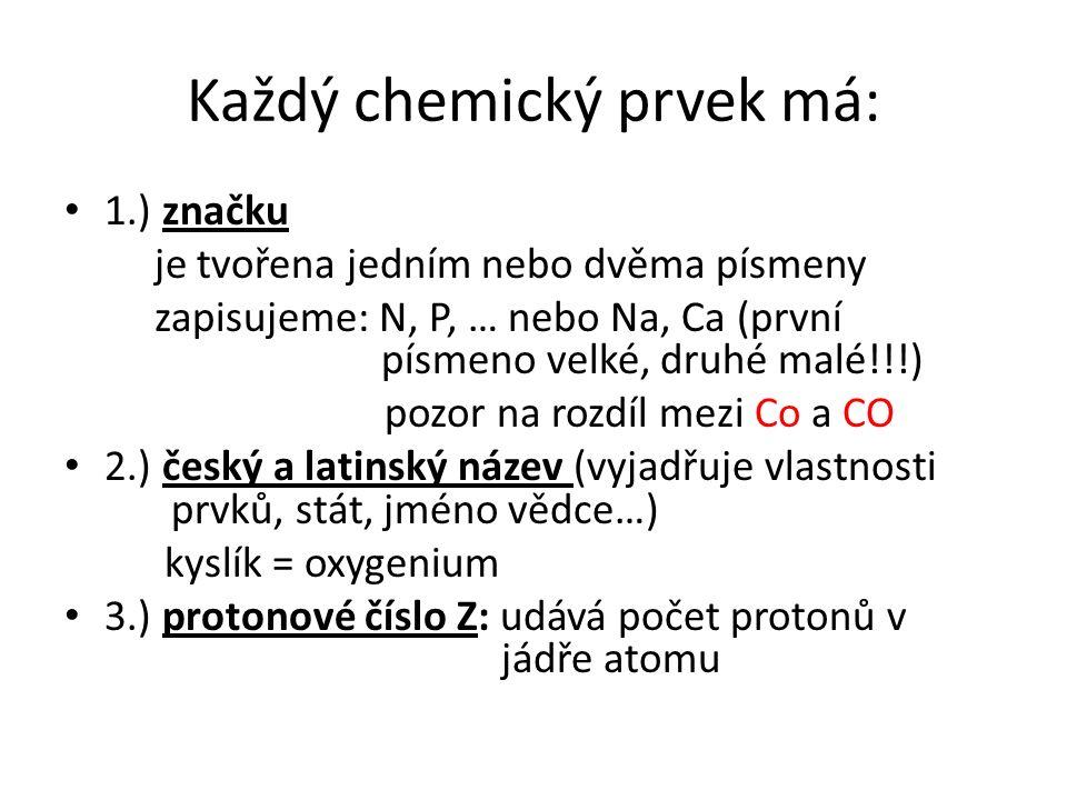 Každý chemický prvek má: 1.) značku je tvořena jedním nebo dvěma písmeny zapisujeme: N, P, … nebo Na, Ca (první písmeno velké, druhé malé!!!) pozor na rozdíl mezi Co a CO 2.) český a latinský název (vyjadřuje vlastnosti prvků, stát, jméno vědce…) kyslík = oxygenium 3.) protonové číslo Z: udává počet protonů v jádře atomu