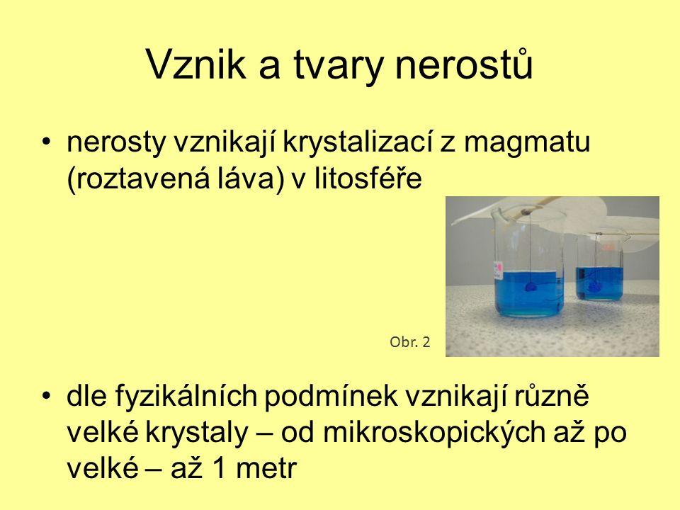 hustota závisí na chemickém složení a dané krystalové soustavě Obr. 9