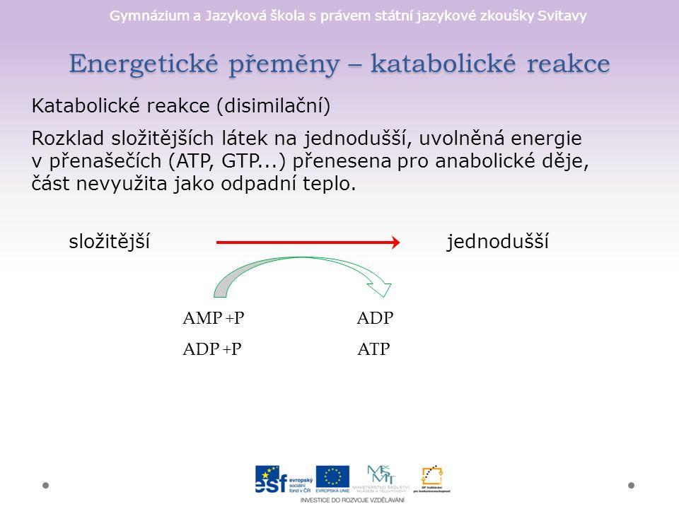 Gymnázium a Jazyková škola s právem státní jazykové zkoušky Svitavy Energetické přeměny – katabolické reakce Katabolické reakce (disimilační) Rozklad složitějších látek na jednodušší, uvolněná energie v přenašečích (ATP, GTP...) přenesena pro anabolické děje, část nevyužita jako odpadní teplo.