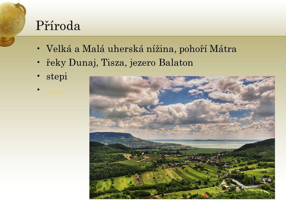 Příroda Velká a Malá uherská nížina, pohoří Mátra řeky Dunaj, Tisza, jezero Balaton stepi zpět
