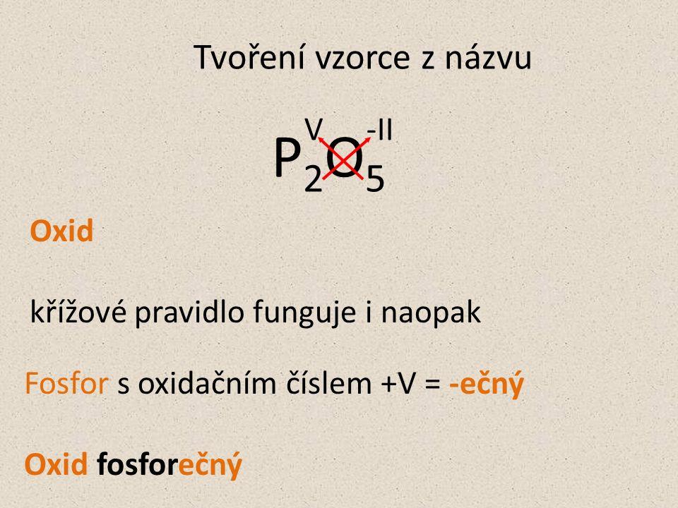 Oxid křížové pravidlo funguje i naopak Fosfor s oxidačním číslem +V = -ečný Oxid fosforečný Tvoření vzorce z názvu P2O5P2O5 V-II