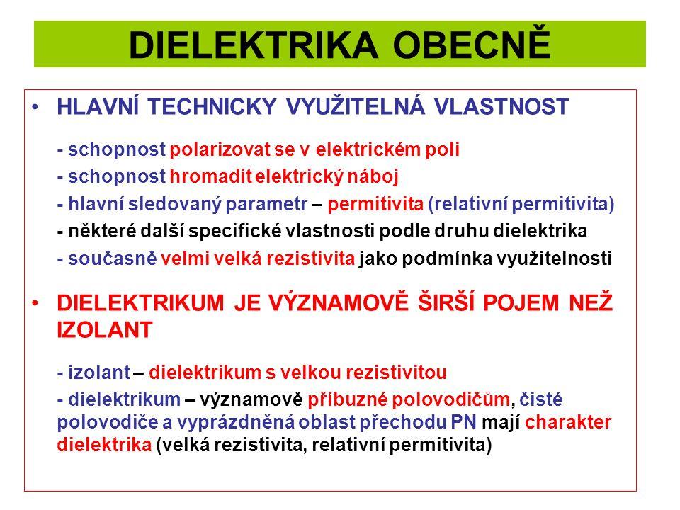 DIELEKTRIKA OBECNĚ HLAVNÍ TECHNICKY VYUŽITELNÁ VLASTNOST - schopnost polarizovat se v elektrickém poli - schopnost hromadit elektrický náboj - hlavní sledovaný parametr – permitivita (relativní permitivita) - některé další specifické vlastnosti podle druhu dielektrika - současně velmi velká rezistivita jako podmínka využitelnosti DIELEKTRIKUM JE VÝZNAMOVĚ ŠIRŠÍ POJEM NEŽ IZOLANT - izolant – dielektrikum s velkou rezistivitou - dielektrikum – významově příbuzné polovodičům, čisté polovodiče a vyprázdněná oblast přechodu PN mají charakter dielektrika (velká rezistivita, relativní permitivita)