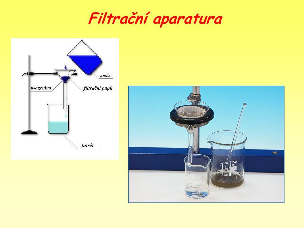 Experiment Postup: - do kádinky nalijeme cca 250 ml vody a přisypeme písek - rozmícháme pomocí skleněné tyčinky a vzniklou směs přefiltrujeme (použijeme předchozí sestavenou filtr.