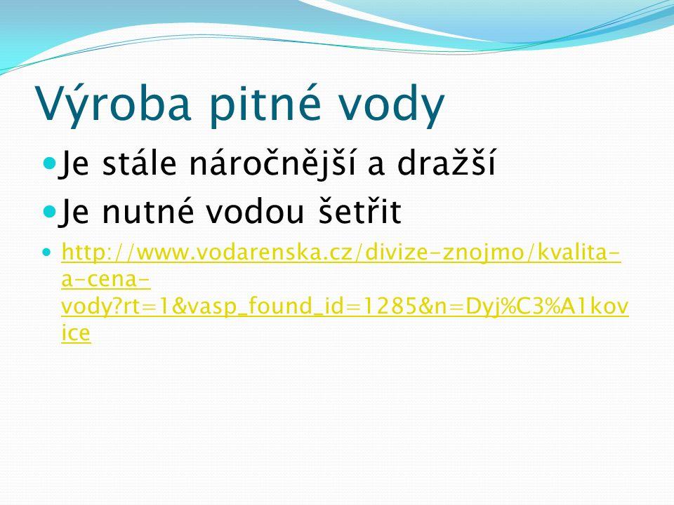 Výroba pitné vody Je stále náročnější a dražší Je nutné vodou šetřit http://www.vodarenska.cz/divize-znojmo/kvalita- a-cena- vody?rt=1&vasp_found_id=1