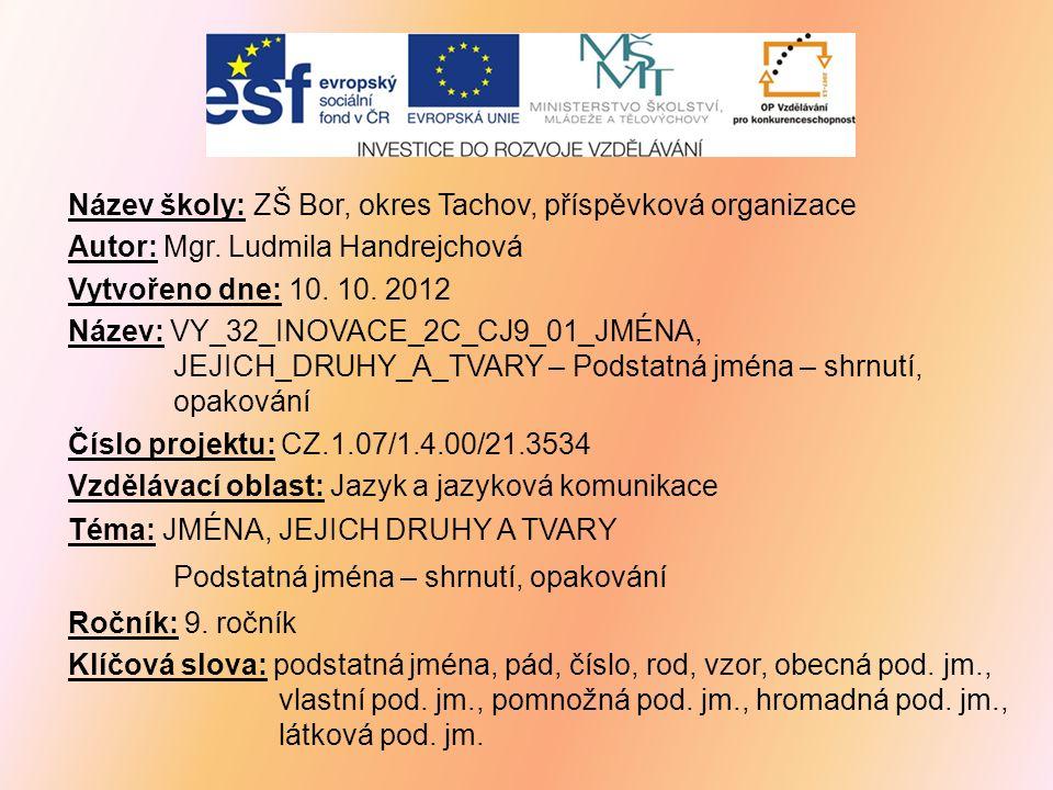 Název školy: ZŠ Bor, okres Tachov, příspěvková organizace Autor: Mgr.