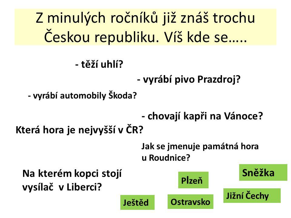 Z minulých ročníků již znáš trochu Českou republiku.