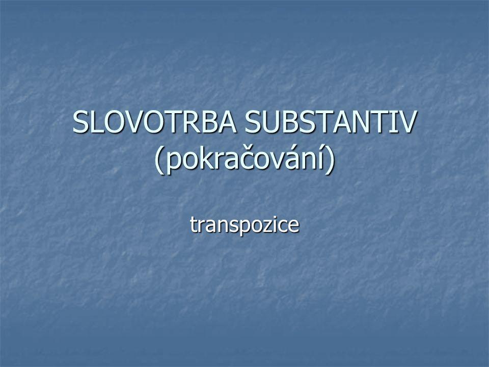 SLOVOTRBA SUBSTANTIV (pokračování) transpozice