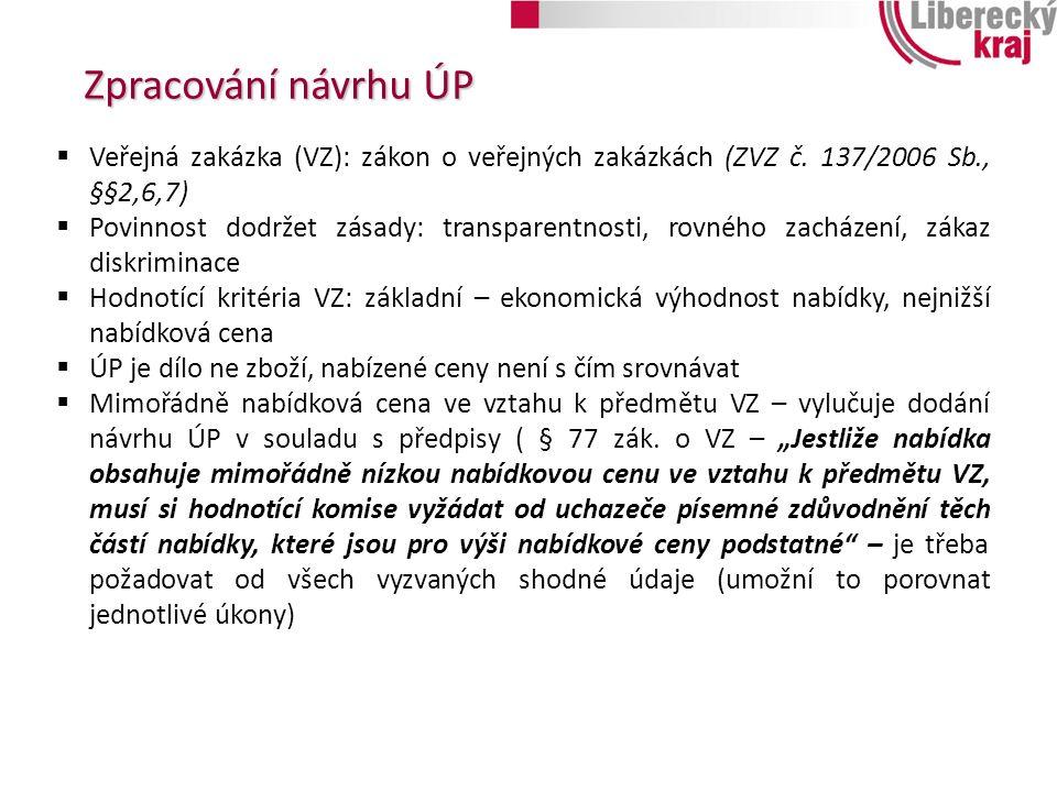 Zpracování návrhu ÚP  Veřejná zakázka (VZ): zákon o veřejných zakázkách (ZVZ č.