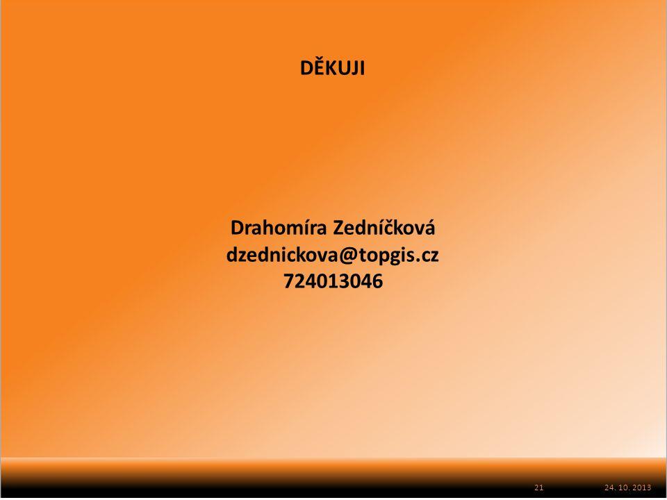 24. 10. 2013 DĚKUJI Drahomíra Zedníčková dzednickova@topgis.cz 724013046 21