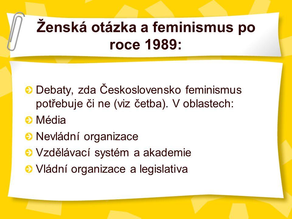 Ženská otázka a feminismus po roce 1989: Debaty, zda Československo feminismus potřebuje či ne (viz četba).