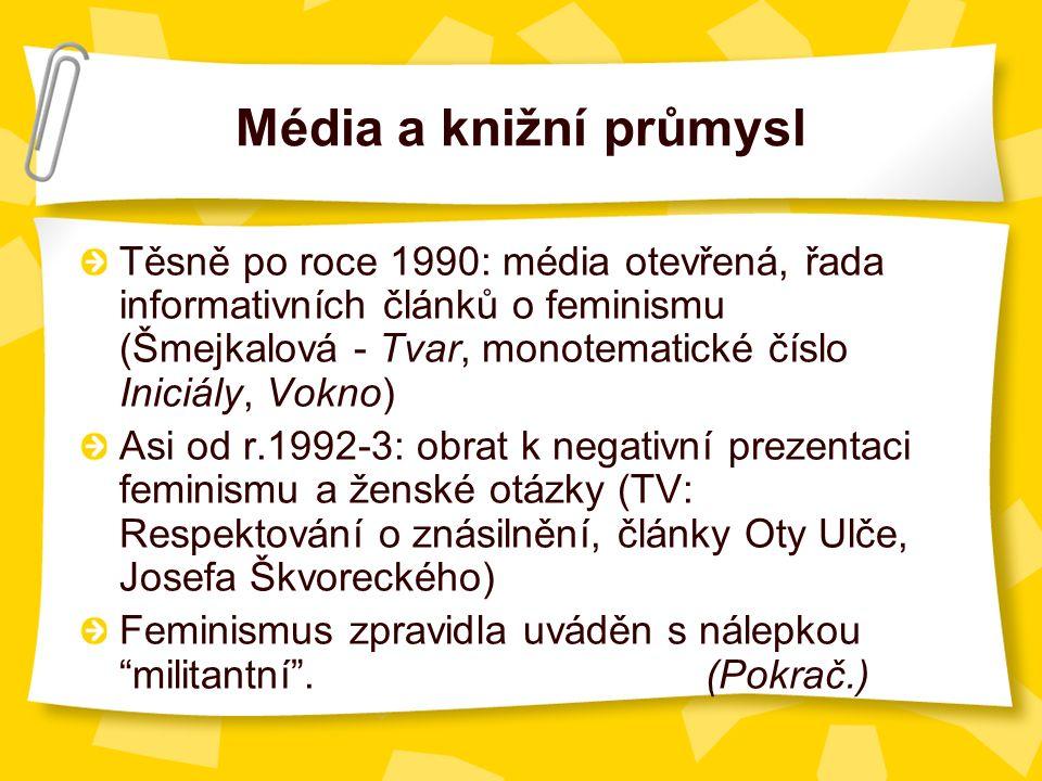 Média a knižní průmysl Těsně po roce 1990: média otevřená, řada informativních článků o feminismu (Šmejkalová - Tvar, monotematické číslo Iniciály, Vokno) Asi od r.1992-3: obrat k negativní prezentaci feminismu a ženské otázky (TV: Respektování o znásilnění, články Oty Ulče, Josefa Škvoreckého) Feminismus zpravidla uváděn s nálepkou militantní .(Pokrač.)