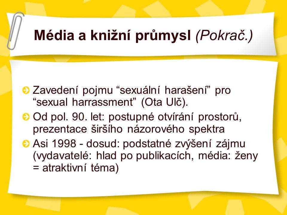 Média a knižní průmysl (Pokrač.) Zavedení pojmu sexuální harašení pro sexual harrassment (Ota Ulč).