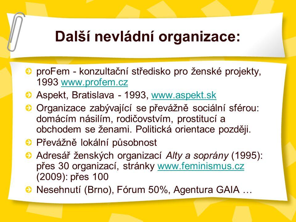 Další nevládní organizace: proFem - konzultační středisko pro ženské projekty, 1993 www.profem.czwww.profem.cz Aspekt, Bratislava - 1993, www.aspekt.skwww.aspekt.sk Organizace zabývající se převážně sociální sférou: domácím násilím, rodičovstvím, prostitucí a obchodem se ženami.